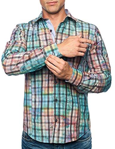 Michael & David Men's Casual Fashion Slim Fit L/S Dress Shirt Aqua Med MD540
