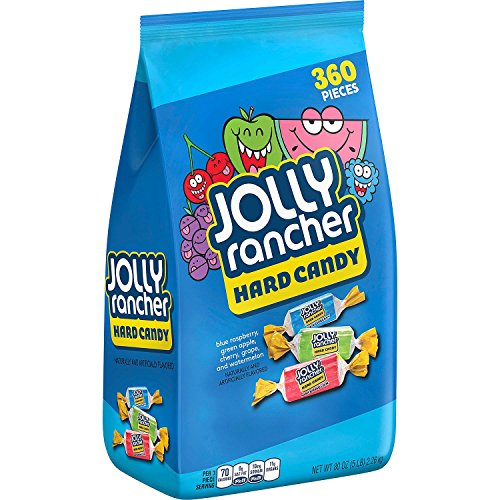 JOLLY RANCHER Hard Candy, Assortment (Watermelon, Apple, Cherry, Grape, Blue Raspberry), 5 Pound Bag (360 Pieces)