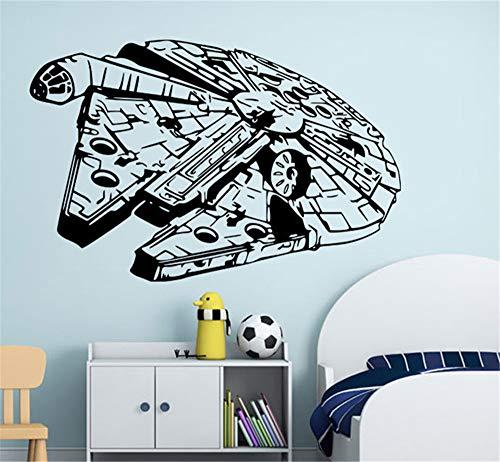 Wall Mural DIY Removable Sticker Decoration Millenium Falcon Star Wars Vinyl Wall Art Decal Black Sticker for Nursery Kid Bedroom Decor ()