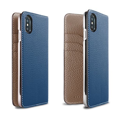 BONAVENTURA iPhone X Leather Wallet Case (Beautiful European Full-Grain Leather) | Luxury Flip Cover Folio Case [iPhone X | Blue & Taupe] by BONAVENTURA (Image #1)