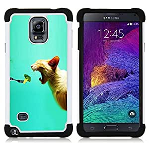 BullDog Case - FOR/Samsung Galaxy Note 4 SM-N910 N910 / - / CAT BITE BROCCOLI MOUTH FOOD VEGAN FRESH /- H??brido Heavy Duty caja del tel??fono protector din??mico - silicona suave