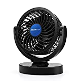 AboveTEK 12V DC Car Cooling Fan - 10ft Cord Strong Quiet Air Circulator Blowing Away Hot Air Bad Odor Smoke Defrost Windshield - Kids Safe Rotatable 4 inch Electric Dashboard Armrest Ventilation Fan