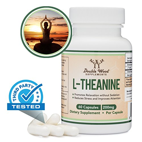L-Theanine 200mg by Double Wood Supplements — Naturally Reduce Stress, Promote Relaxation and Quality Sleep — Soy Free, Gluten Free, Non-GMO —Third Party Tested and Made in The USA 60 Capsules
