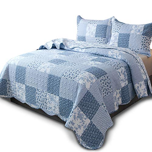 KASENTEX Country-Chic Printed Pre-Washed Quilt Set - Microfiber Fabric Quilted Pattern Bedding (Multi-Blue A, Twin + 1 ()