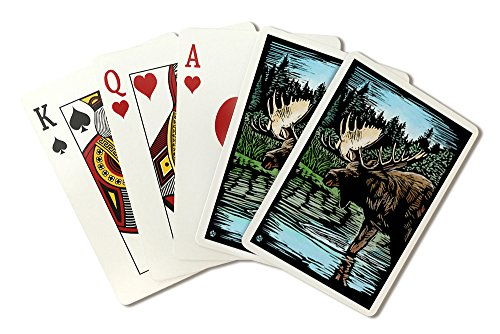 Moose - Scratchboard (Playing Card Deck - 52 Card Poker Size with Jokers) by Lantern Press