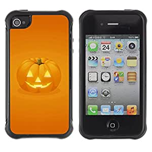ZAKO Cases / Apple Iphone 4 / 4S / Pumpkin Face / Robusto Prueba de choques Caso Billetera cubierta Shell Armor Funda Case Cover Slim Armor