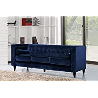Meridian Furniture 642Navy-S Taylor Button Tufted Velvet Upholstered Sofa with Square Arms, Custom Solid Wood Legs, and Included Bolster Pillows, Navy