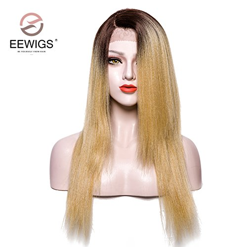 EEWIGS Yaki Straight L Part Lace Front Wig Ombre Brown Roots to Honey Blonde Synthetic Wig with Deep Side Parting Long Straight Lace Wigs for Women