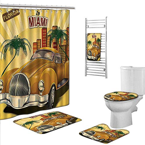 Bath Towels SetsIncludes (Toilet mat Three-piece suit + 1 shower curtain + 1 bath towel) size:S-Vintage Decor Welcome to Miami above Nostalgic Car with Palm Trees and Urban Apartment Patterns Multi. ()