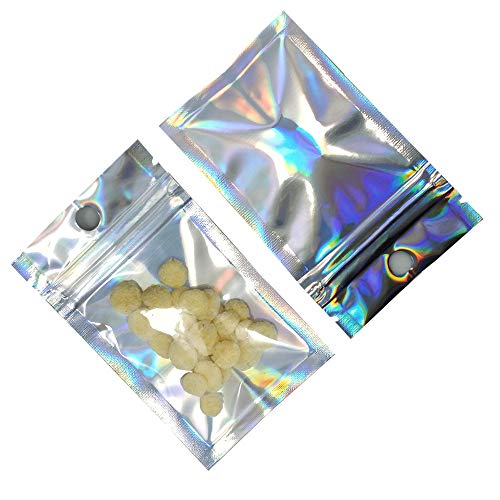 Clear Mylar Ziplock Bags with Hang Hole Resealable Smell Proof Pouch Holographic Rainbow Color Aluminum Foil Bags FDA Approved Food Safe Bags Cosmetic Sample Packet (2000, 14x20cm (5.5x7.9 inch))