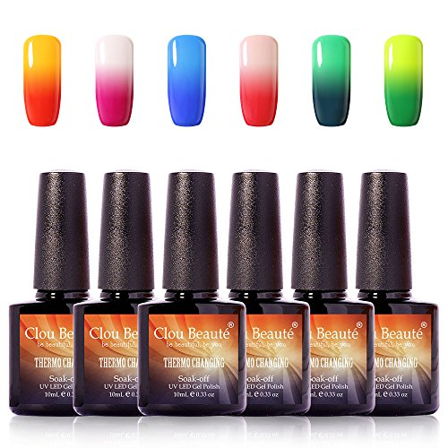 7006 Thermal (Clou Beaute Soak Off UV LED Thermal Temperature Color Changing Gel Nail Polish Set Of 6 10ml CB7001-7006)