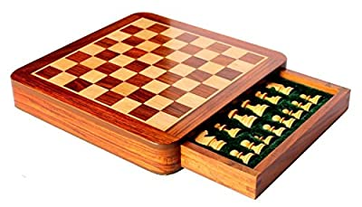 Craftgasmic Square Wooden Chess and Magnetic Pieces Set with Storage Drawer (5x5 Inch)(Father's Day Gift)