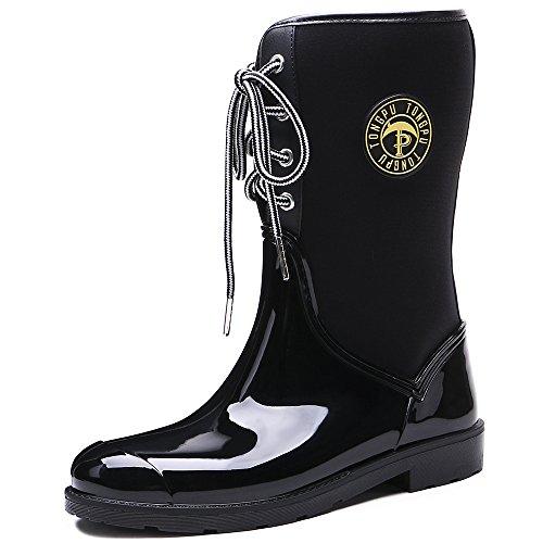Tongpu Womens Mid Claf Boots Da Pioggia Patchwork Outdoor Da Pioggia Nero
