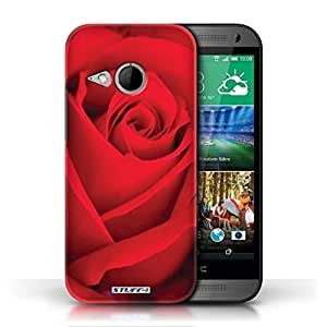 KOBALT? Protective Hard Back Phone Case / Cover for HTC One/1 Mini 2 | Red Rose Design | Floral Garden Flowers Collection