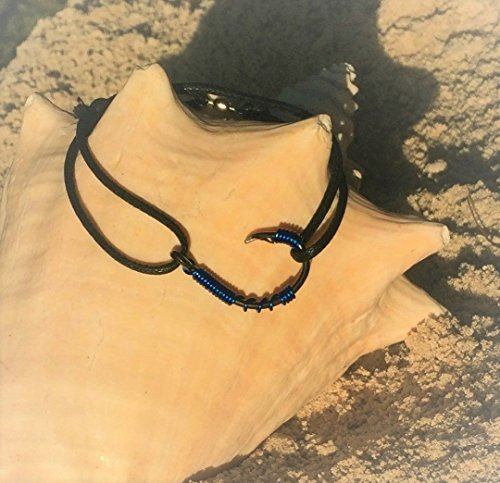 The REAL FISH HOOK BRACELET / ANKLET- Blue Wire on Black (Tropical Fish Bracelet)