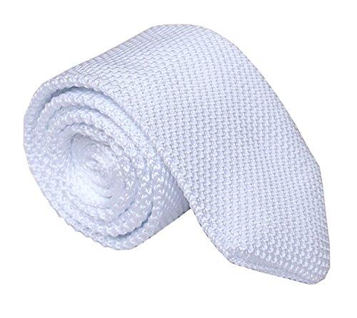 Men Boy Pure White Versatile Style Knit Neck Ties Long Woven Smart Soft Neckwear -