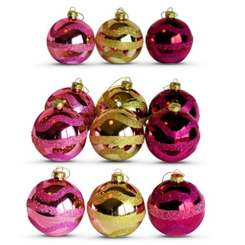Stripe Glass Ball - WHW Whole House Worlds 3 1/4 Inch Purple and Gold Wave Ball Ornaments, Set of 12, Glam Glitter Sparkle Textured Stripes on Shiny Glass, Shades of Regal Purple, Ultra Violet and Gold, Luxe Glass