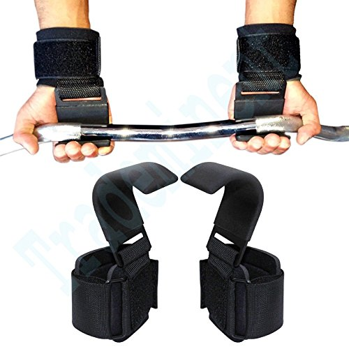 Trademinent Heavy Duty Weight Lifting Hooks Wrist Support Straps Gym Power Gripper Chin up Bar - Hooks Pair by Trademinent