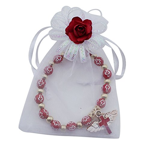 Confirmation Favors (12 Pcs) Angel Wing Cross Red Bracelet in Decorated Organza Gift Bags for Boy and Girl (Red1)