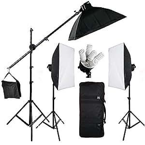 BPS 2850W Kit Softbox Iluminación Continua Estudio Fotografía - Kit con 3x Portalámpara / 3x Softbox (50x70cm) / 3x Soporte de luz / 15x Bombilla / Bolsa de Transporte - Equipo Completo Profesional para Vídeo y Retrato