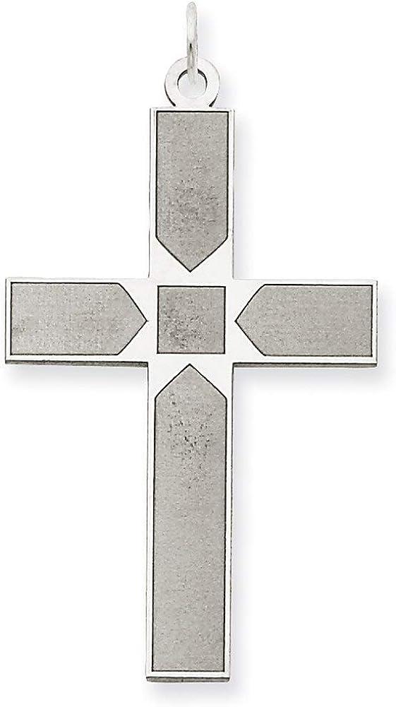 Lex /& Lu 14k White Gold Laser Designed Cross Pendant LAL88930