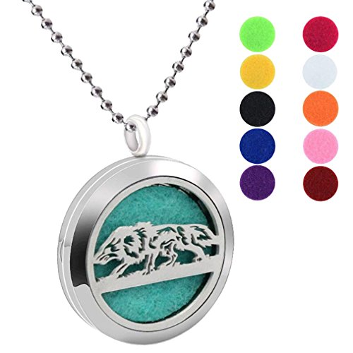 Fashion 30mm Aromatherapy Essential Oil Necklace Diffuser Locket Wild Animal Wolf Pendant Stainless Steel Necklaces with Free 10 Colors Refill Pads ()