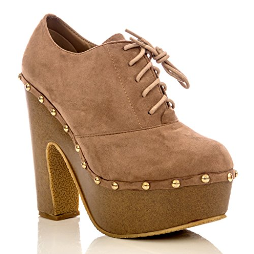 Chunky Cork Heels (Charles Albert Women's Studded Lace-Up Cork Style Platform Ankle Bootie With Chunky Heel In Blush Size: 7)