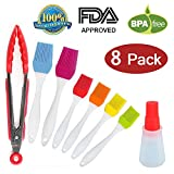 8 Pack Food Grade BBQ Silicone Basting Brush, Easy Cleaned Basting Bottle with Brush, Heat Resistant FDA Approved Kitchen Tongs, BPA Free Silicone Basting Pastry Brush, Brush Oil Bottle by Makerfun