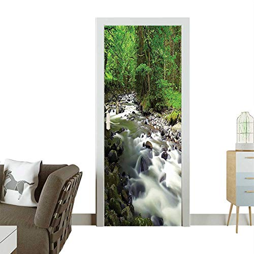 Homesonne Decorative Door Decal Rush Riverbed TRE Mounta Branch Shrubs Nature Green Gray White Stick The Picture on The doorW38.5 x H77 -