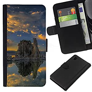 All Phone Most Case / Oferta Especial Cáscara Funda de cuero Monedero Cubierta de proteccion Caso / Wallet Case for Sony Xperia Z1 L39 // Nature Lonely Rock