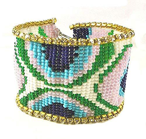 Viva HANDMADE BEADED PEACOCK FEATHER NATIVE AMERICAN STYLE CUFF BRACELET - Beaded Men For Bracelets Indian