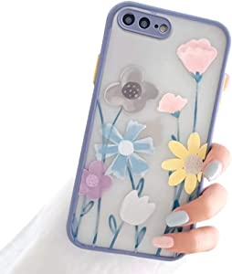Ownest Compatible with iPhone 7 Plus/8 Plus Case with Clear Frosted PC Back 3D Floral Girls Woman and Soft TPU Bumper Protective Silicone Slim Shockproof Case for iPhone 7 Plus/8 Plus-Navy Blue