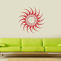 Designer Self Adhesive Removable wall Sticker Do it Yourself (DIY) Silent Analog Wall Clock- Red Sun