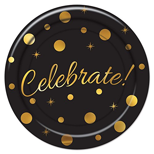 Party Central Club Pack of 96 Black and Gold 'Celebrate' Graduation Themed Plates 7