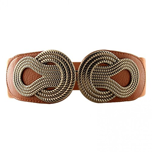 Retro Wide Metal Interlock Buckle Womens Elastic Belt Plus Size Large Belt for Dress