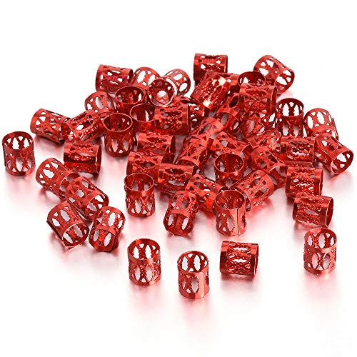 Tube Allied (Lots 50pcs 8mm Dreadlock Beads Adjustable Hair Braid Rings Cuff Clips Tubes Kits (Colors - Red))