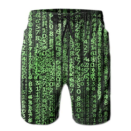 Matrix Technology Data Mens Swim Trunks Summer Cool Quick Dry Board Shorts Bathing Suit with Side Pockets Mesh -