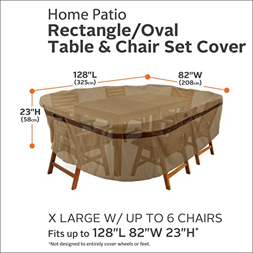 Classic Accessories Hickory Heavy Duty Rectangular/Oval Patio Table and Chair Cover - Durable and Water Resistant Patio Set Cover, X-Large (55-212-052401-EC)