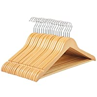 SONGMICS 100% Wood Hangers, 20 Pack - Selected Solid Wooden Hangers with Smooth Finish,