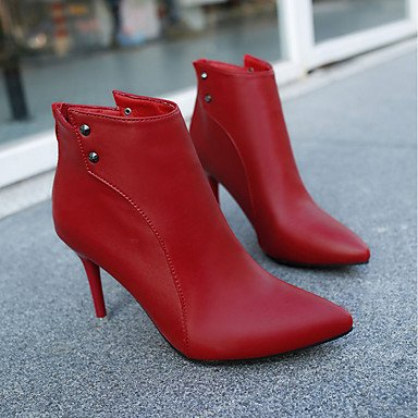 Red Goma Marrón De Para Combate Tacón Negro Mujer Otoño Botas Rojo Zapatos amp;m Puntiagudo Claro Dedo Heart Stiletto tqHRTT
