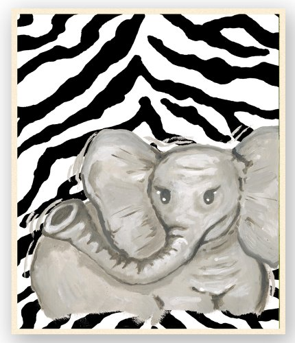 (The Kids Room by Stupell Elephant with Zebra Stripes Rectangle Wall)
