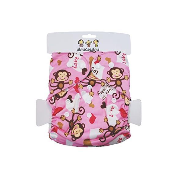 Abracadabara Adjustable,Washable Printed Reusable Diaper with Insert/Liner- Monkey