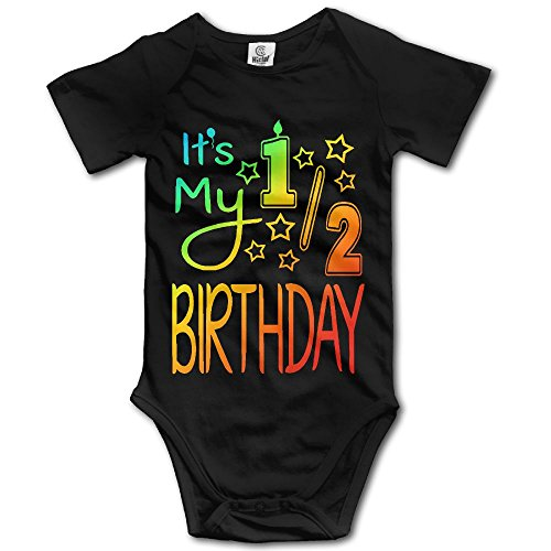 (LWI DIW It's My Half Birthday Newborn Baby Boys Girls Lightweight Short-Sleeve Bodysuit Romper Outfits)