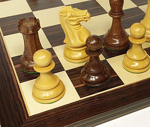 Double Queen Chess - HPL Sheesham 4 5/8 inch King Double Queens Large Anderssen Staunton Chess Men Set with 20 inch Ebony and Maple Board - NO Storage