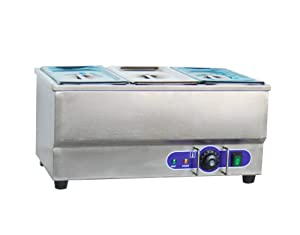 INTBUYING 110V 3-Pan Commercial Grade Stainless Steel Bain Marie Buffet Food Warmer Steam Table for Catering and Restaurants