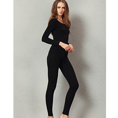 Liang Rou Women's Crewneck Stretch Top & Bottom Thin Underwear Set Black M Medium / 8-10 1 Set Black by Liang Rou (Image #2)