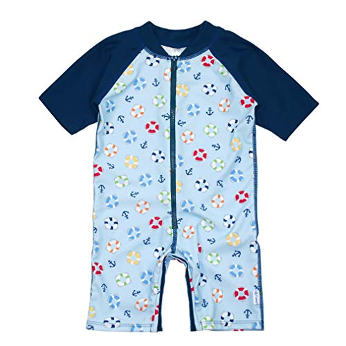 (i play. Toddler Boys One-Piece Swim Sunsuit, Light Blue Lifesaver, 4T)