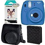 Fujifilm Instax Mini 9 Instant Camera - Cobalt Blue, Polaroid Instant Film Twin Pack - (20 Sheets), Fujifilm Instax Groovy Camera Case - Black and Polaroid WALLET ALBUM BLACK