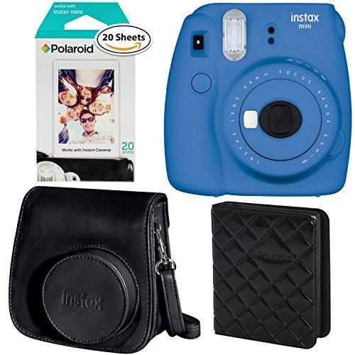 Fujifilm Instax Mini 9 Instant Camera – Cobalt Blue, Polaroid Instant Film Twin Pack – (20 Sheets), Fujifilm Instax Groovy Camera Case – Black and Polaroid WALLET ALBUM BLACK