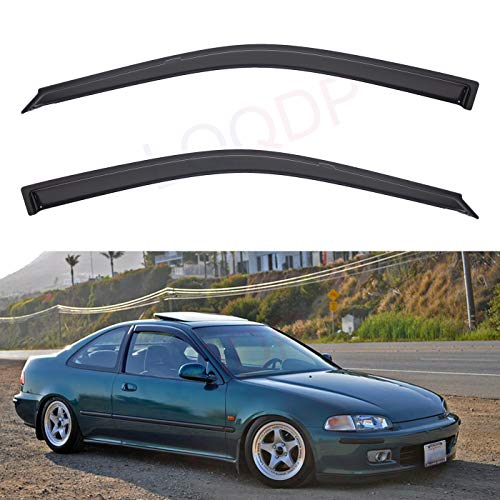 LQQDP Set of 2 Front Smoke Sun/Rain Guard Outside Mount Tape-On Acrylic Window Visors For 92-95 Honda Civic 2-Door Coupe/3-Door Hatchback